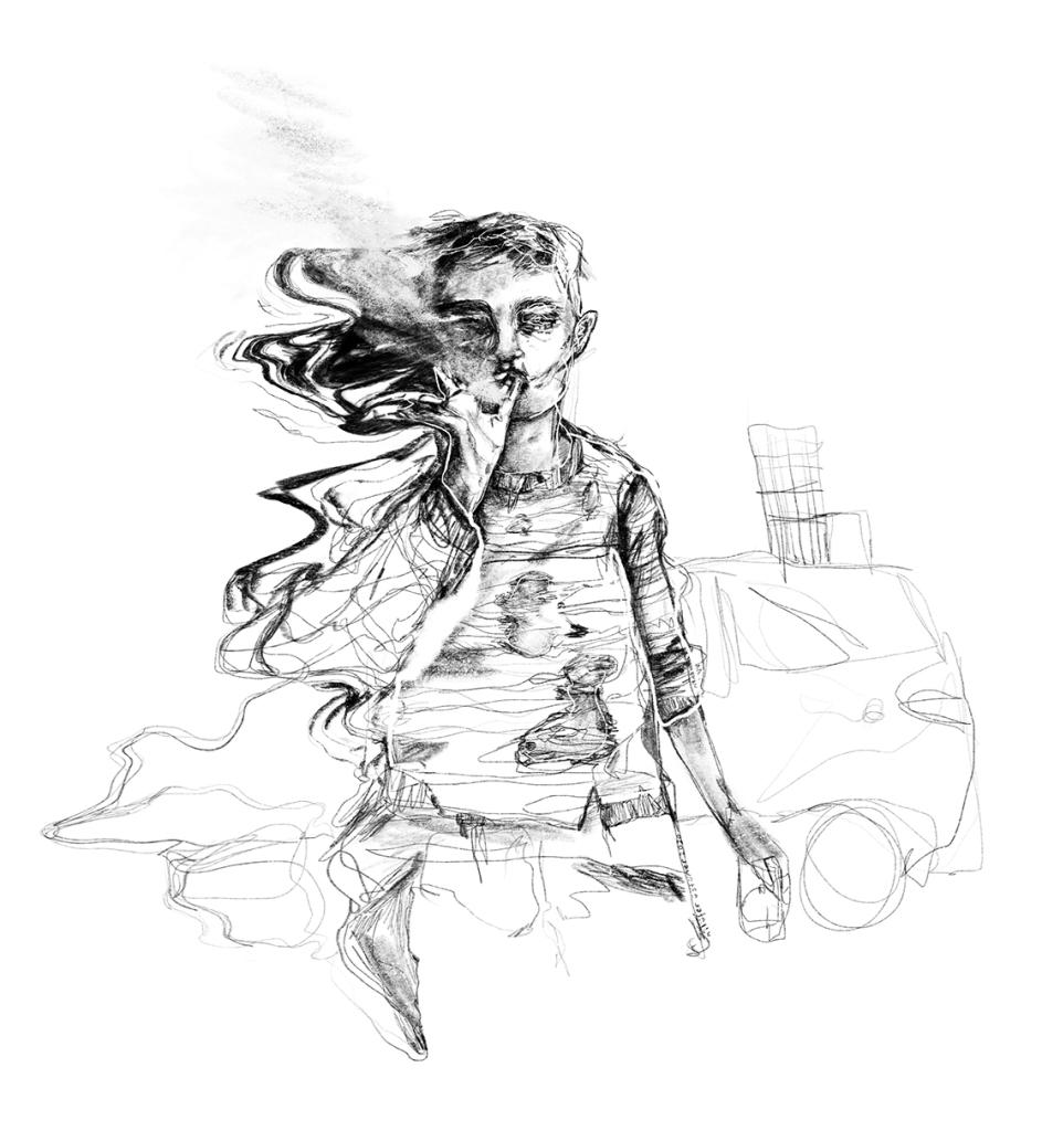 Kahpe dünya illüstrasyonu, sigara içen dertli çocuk